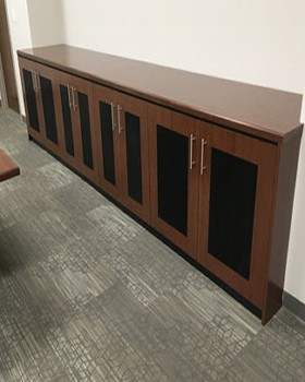 Equipment credenza with mesh door inserts
