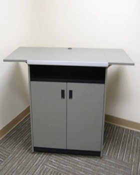Medium-sized equipment credenza with drop-shelves Can accept a monitor
