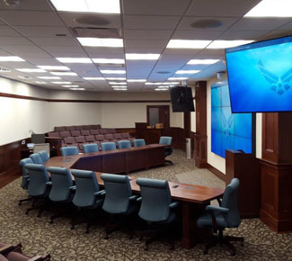 35ft Wide V-shape for presentations and video conferncing